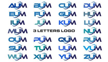 3 letters modern generic swoosh logo AUM, BUM, CUM, DUM, EUM, FUM, GUM, HUM, IUM, JUM, KUM, LUM, MUM, NUM, OUM, PUM, QM, RM, SM, TM, UM, VM, WM, XM, YM, ZUM