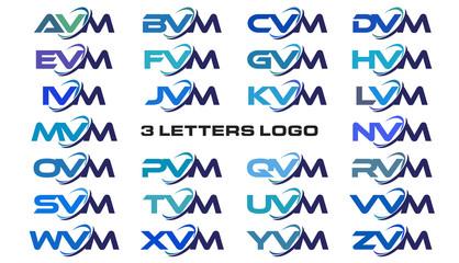 3 letters modern generic swoosh logo AVM, BVM, CVM, DVM, EVM, FVM, GVM, HVM, IVM, JVM, KVM, LVM, MVM, NVM, OVM, PVM, QVM, RVM, SVM, TVM, UVM, VVM, WVM, XVM, YVM, ZVM