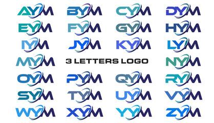 3 letters modern generic swoosh logo AYM, BYM, CYM, DYM, EYM, FYM, GYM, HYM, IYM, JYM, KYM, LYM, MYM, NYM, OYM, PYM, QYM, RYM, SYM, TYM, UYM, VYM, WYM, XYM, YYM, ZYM
