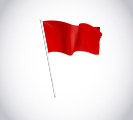 Red flag on flagpole isolated on white background.  Flag flying