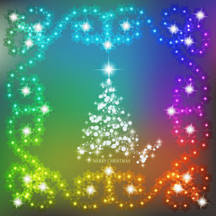 Abstract waves background with christmas tree and garlands. Illustration in different colors.