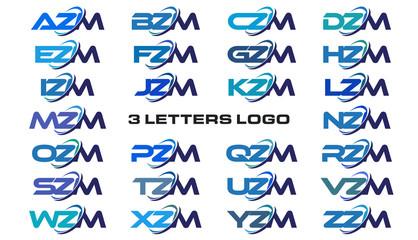 3 letters modern generic swoosh logo AZM, BZM, CZM, DZM, EZM, FZM, GZM, HZM, IZM, JZM, KZM, LZM, MZM, NZM, OZM, PZM, QZM, RZM, SZM, TZM, UZM, VZM, WZM, XZM, YZM, ZZM