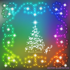 Abstract waves background with christmas tree and garlands. Vector illustration in different colors.