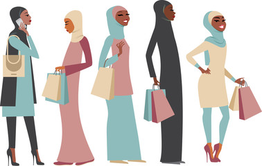 Muslim ladies with shopping bags