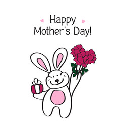 Happy mother's day! Card with a cute Bunny and a bouquet of peon