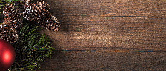 snowy cones and fir branch on a wood background