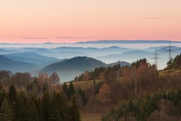 Wall Mural - Sonnenuntergang Schwarzwald