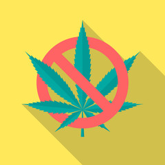 No cannabis leaf icon with long shadow. Flat design style. No marijuana silhouette. Simple icon. Modern flat icon in stylish colors. Web site page and mobile app design vector element.