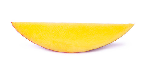 Mango slice isolated on white background, with clipping path