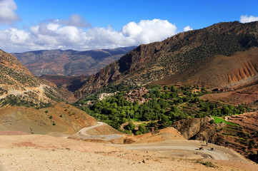 Winding road in in Atlas Mountains, Morocco, Africa