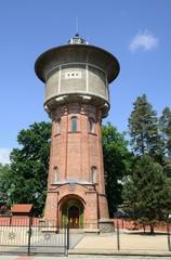 The historic water tower in Trebon, Czech Republic.