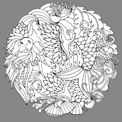Decorative element with mermaid, leaves, fish. Black and white vector illustration for coloring pages or other.