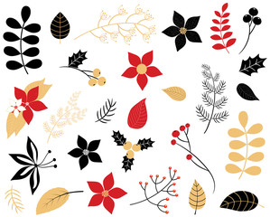 Elegant winter foliage set - leaves, flowers, berries in red, black and gold