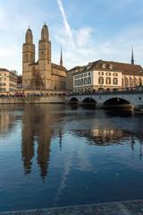 ZURICH, SWITZERLAND - 28 OCTOBER 2015 : Grossmunster church in Limmat River, City of Zurich, Switzerland