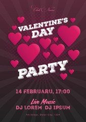 Valentine's Day party invitation flyer. The template for the club, musical evenings. Speech by musicians, DJs. Night festive party. Background with hearts. Vector illustrations