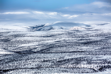 Mountain and snow covered hills, Norway