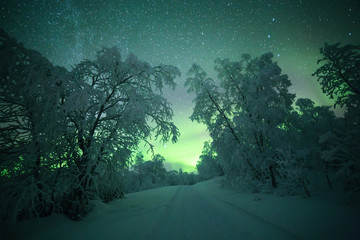 Northern lights and pathway, Finland