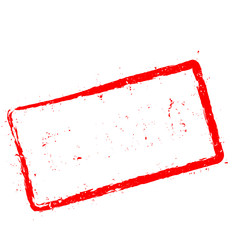 Closed red rubber stamp isolated on white background. Grunge rectangular seal with text, ink texture and splatter and blots, vector illustration.