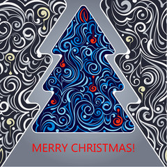 Card with a Christmas tree