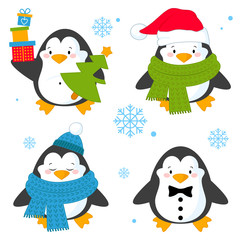 Penguin set vector illustration, with penguins in different situations.Cartoon penguin isolated on white background. Vector illustration