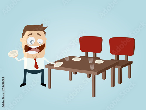 quothappy cartoon man setting the tablequot stock image and