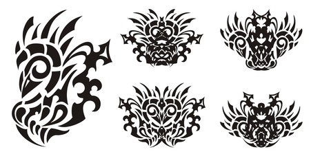 Tribal bird symbols. Unusual symbols of a bird similar to a rooster. Black on white