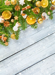 Christmas garland decoration placed on wooden planks