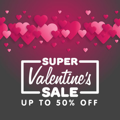 Valentine's Day Sale. Lettering with hearts on the background. Vector illustration