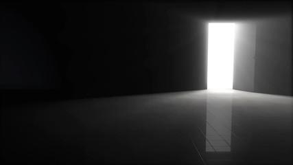 Wall Mural - Door opening to dark room with bright light shining in.