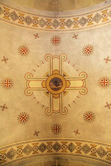 Ornamental fresco ceiling in the Chapel of Moses, Israel