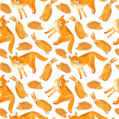 Fox, hare and hedgehog seamless pattern.Forest animals.Watercolor hand drawn illustration.White background.