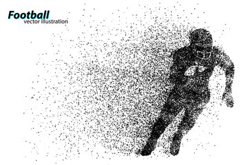 silhouette of a football player from particle. Rugby. American footballer