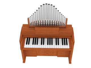 wooden organ 3D illustration isolated on white