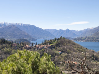 Panorama of Lake Como, view of Bellagio and Como branch