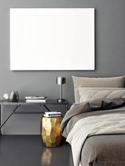 Close up interior bedroom, mock up poster, 3d ilustration