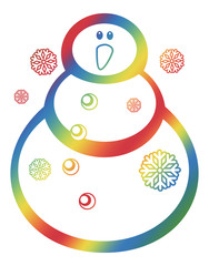 Color gradient filled contour  of a snowman and snowflakes a white background.