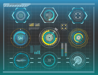 Hud elements,graph.Vector illustration.Head-up display elements for the web.