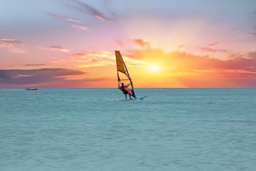 Windsurfer at Aruba island on the Caribbean Sea at a beautiful s