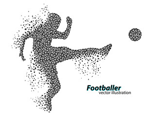 silhouette of a football player from triangles