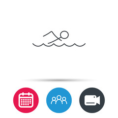 Swimming icon. Swimmer in waves sign. Professional sport symbol. Group of people, video cam and calendar icons. Vector