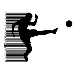 silhouette of a football player and barcode