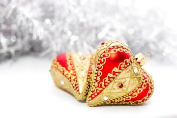 Closeup of red Christmas balls heart