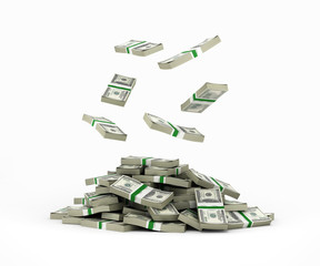 Stack of money american dollar bills falling into a pile 3d rend