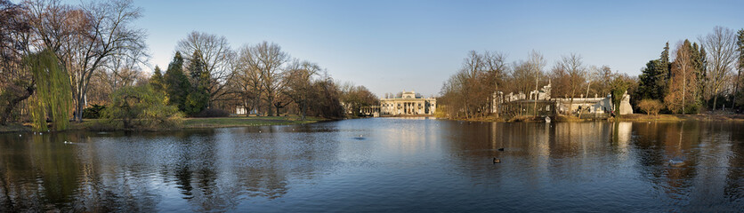 Panorama of Palace on the water in Lazienki Park in Warsaw