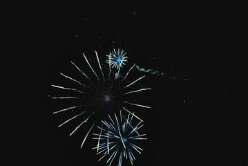 Shiny natural fireworks on dark sky like bike wheel