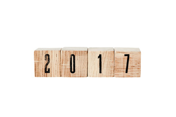 2017 on wooden cubes isolated on white background