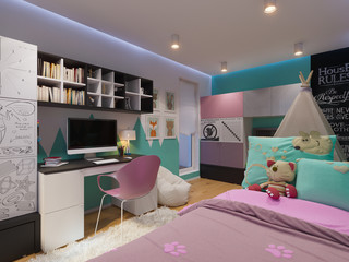 3d illustration of interior design children's room for a little girl