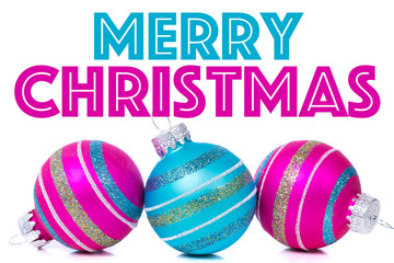 "Christmas Ornaments on white background with ""Merry Christmas"" g"