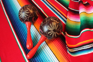 Mexican maracas poncho Mexico traditional cinco de mayo rug poncho fiesta background with stripes stock, photo, photograph, image, picture