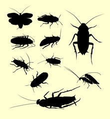 Cockroach insect animal silhouette. Good use for symbol, logo, web icon, mascot, sign, sticker, or any design you want.